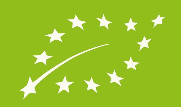 Nuevo logotipo de Agricultura Ecológica: 12 estrellas blancas de la Unión Europea que forman la silueta de una hoja sobre un fondo verde